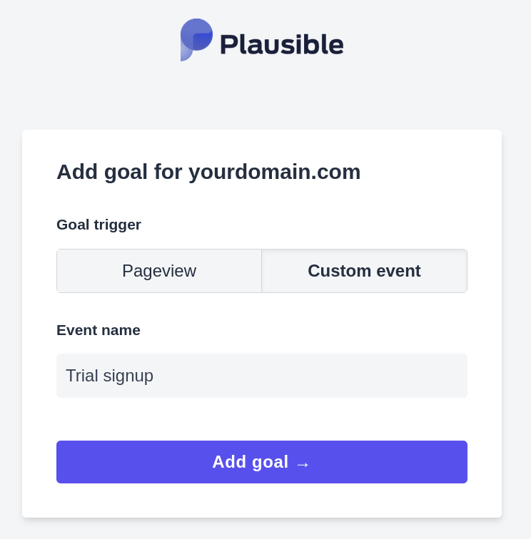 Add your custom event goal