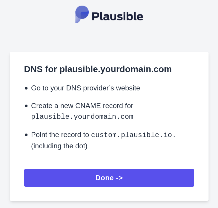 Create a new CNAME record for your chosen subdomain