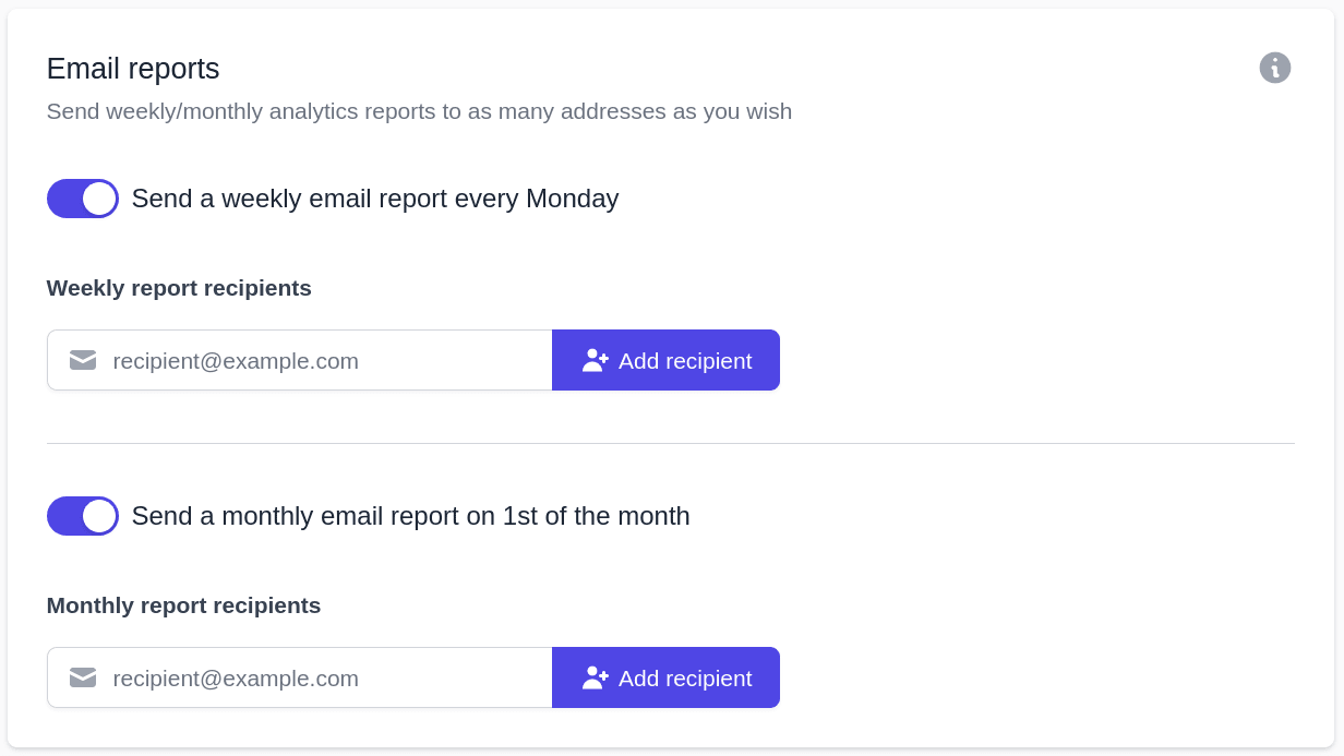 Set reports to be sent via email