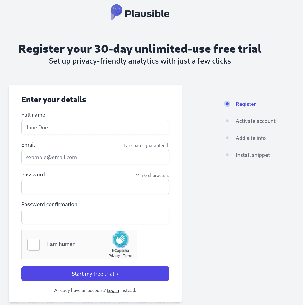 Register your Plausible account