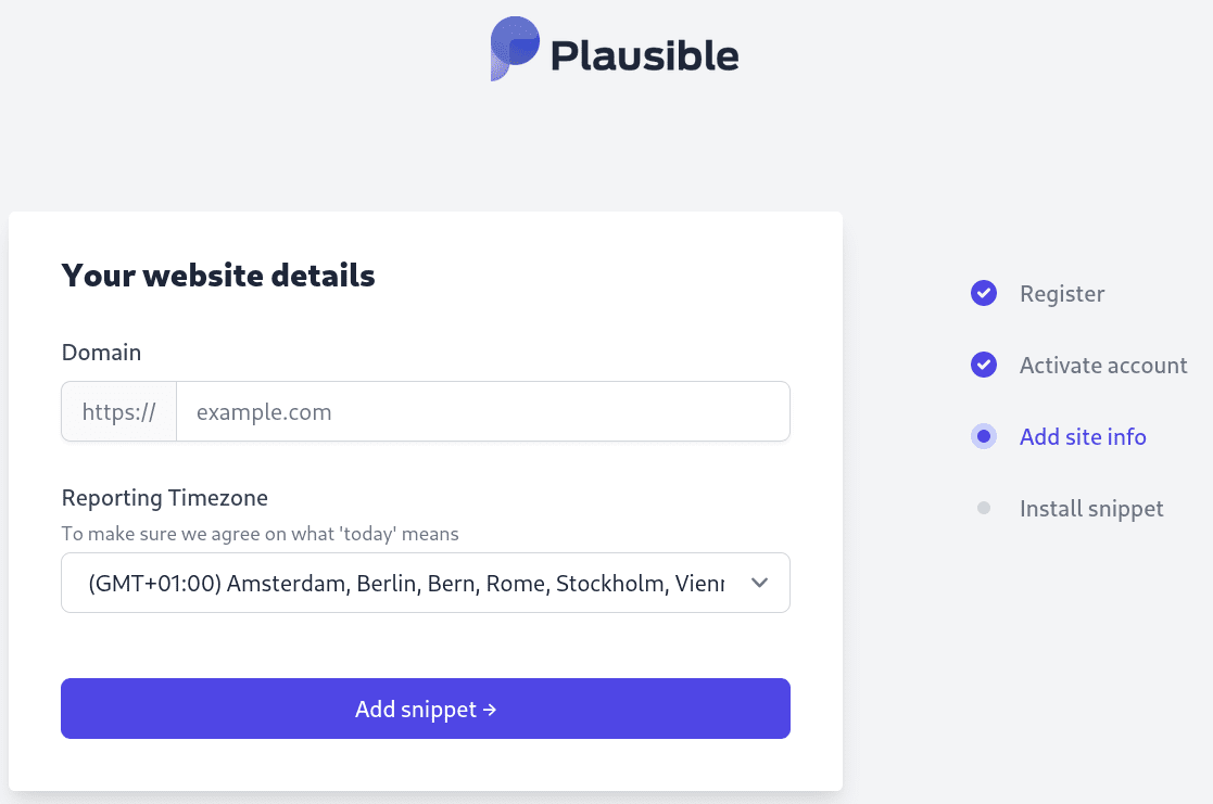 Add your website details to Plausible Analytics